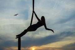 Aerial acrobat against the sky. Stock Photography