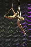 Aerial act duo. Aerial straps duo circus act in a theatre show onboard Liberty of the Seas cruise liner stock image