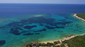Aerial: Adriatic sea bay with clear blue water stock footage