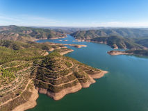 Aerial. Aero panorama dam in Monchique Odelouca. Royalty Free Stock Photos