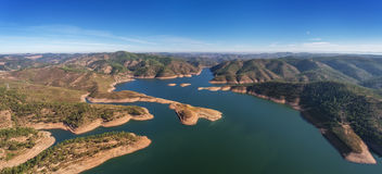 Aerial. Aerophotographingpanorama dam in Monchique Odelouca. Royalty Free Stock Photography