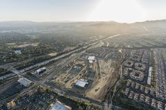 Aerial afternoon view of shopping center construction, Rinaldi Street and the 118 freeway in the Porter Ranch neighborhood of Los royalty free stock photography