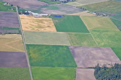 Aerial Agricultural Land. Aerial view of colorful agricultural plots of land Stock Images
