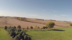 Aerial agriculture farm field landscape stock video footage