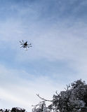 Aerial aircraft shooting winter snow Royalty Free Stock Image