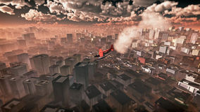 Aerial of airplane crashing in skyscraper city. Stock Photo