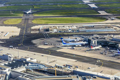 Aerial of airport in Frankfurt Royalty Free Stock Image