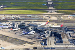Aerial of airport in Frankfurt Royalty Free Stock Photography