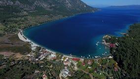 Aerial of Akbuk, Mugla, Turkey. Aerial view of coastal Akbuk in Mugla, Turkey on sunny day Stock Photos