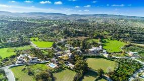 Aerial Akourdalia, Paphos, Cyprus. Aerial bird`s eye view of traditional village Kato Akourdalia, Paphos, Cyprus. The mountains, valley, trees, nature, Latchi Royalty Free Stock Image