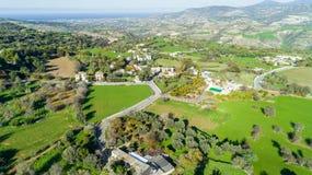 Aerial Akourdalia, Paphos, Cyprus. Aerial bird`s eye view of traditional village Kato Akourdalia, Paphos, Cyprus. The mountains, valley, trees, nature, Latchi Stock Photos