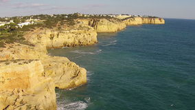 Aerial at Algar Seco near Carvoeiro Portugal stock footage