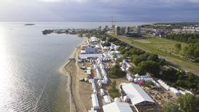 Aerial on Almere beach. Aerial view on a festival on Almere beach. Libelle zomerweek stock image