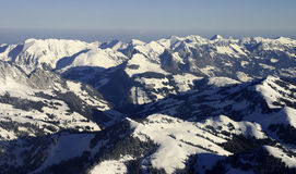 Aerial alps landscape. Alps landscape taken from a plane (Valais, Switzerland Stock Photos