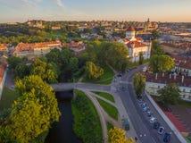 aerial Alte Stadt in Vilnius, Litauen Lizenzfreies Stockfoto