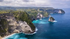 Aerial amazing cliffs panorama and blue water