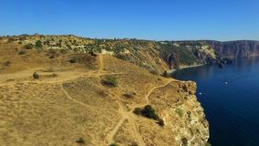 AERIAL. Amazing View Of Fiolent Cape In Crimea stock video footage