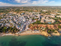 Aerial. Amazing view from the sky, town Olhos de Agua albufeira. Royalty Free Stock Image
