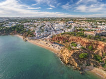 Aerial. Amazing view from the sky, town Olhos de Agua albufeira. Stock Images