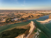 Aerial. Amazing view from the sky, village Cacela Velha and Ria Formosa. stock photo
