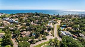 Aerial. Amazing view from the sky of village of Villas de Lobo. Algarve stock photos