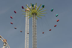 An aerial amusement park ride in Amsterdam Stock Photo