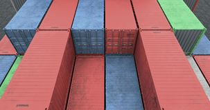 Drone angle view of cargo shipping container stacks