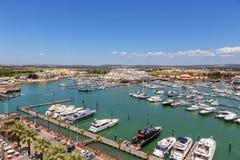 aerial Ansicht vom Himmel des Jachthafens und der Yacht Vilamoura faro Lizenzfreie Stockfotografie
