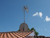 Aerial antenna pole. Aerial antenna for digital terrestrial tv and satellite tv Stock Images