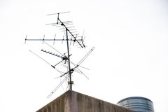 Aerial antenna on the roof. Royalty Free Stock Photos