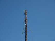 Aerial antenna tower over blue sky Stock Photo