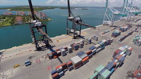 Aerial approach Port of Miami stock video footage