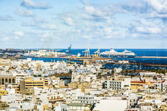 Aerial of Arrecife with cargo and cruise ship harbor Royalty Free Stock Images