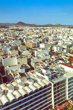 Aerial of Arrecife with volcanoes beyond Royalty Free Stock Photo