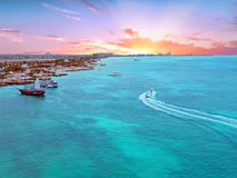 Aerial from Aruba island in the Caribbean at sunset Stock Photos