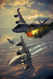 Aerial attack. F15 fighters and boeing 747 implicated in an aerial incident stock illustration