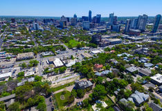 Aerial Austin Graffiti wall with Castle hill Spring 2016 Capital Cities of America downtown view over the capital city of ATX. Stock Images