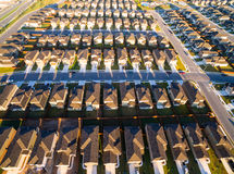 Aerial Austin Suburb rows of Houses sunrise across round rock texas Royalty Free Stock Images