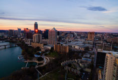 Aerial Austin Texas Sunset Golden Hour skyline pink Horizon and Golden reflections off Skyscrapers Royalty Free Stock Photo