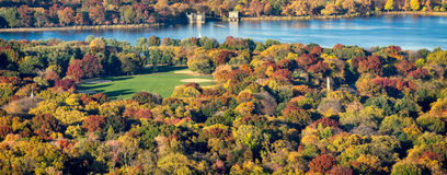 Aerial Autumn View of Central Park in New York City Royalty Free Stock Photo
