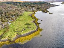 Aerial autumn view of Dunvegan Castle, Isle of Skye royalty free stock images