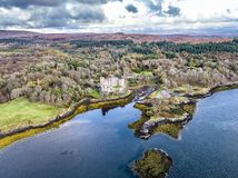 Aerial autumn view of Dunvegan Castle, Isle of Skye royalty free stock photography
