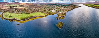 Aerial autumn view of Dunvegan Castle, Isle of Skye stock images