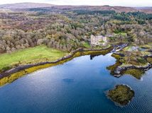 Aerial autumn view of Dunvegan Castle, Isle of Skye stock photos