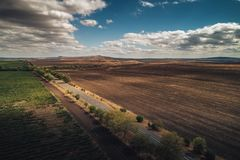 Aerial autumn view over vineyard fields in Europe. Aerial autumn view over vineyard in Europe royalty free stock photo