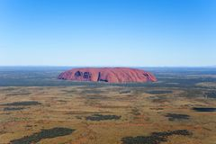 Aerial of Ayers Rock, Australia. Royalty Free Stock Image
