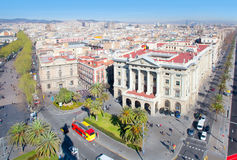 Aerial Barcelona view with Ramblas and Colon Stock Photography