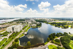 Aerial of Baton Rouge with Mississippi river Royalty Free Stock Images