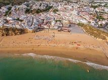 Aerial. Beach fishermen in the summer season in Albufeira. Stock Images