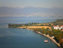 Aerial Beach Ohrid. Aerial view of beach in Ohrid, Macedonia royalty free stock photos
